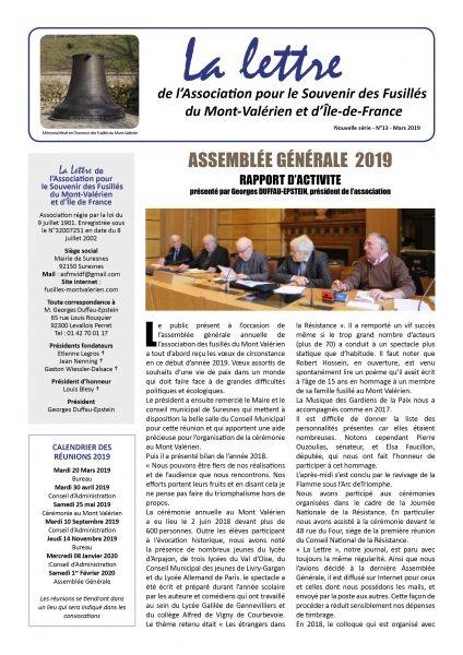 Parution de La Lettre du Mont-Valérien N°13 – Mars 2019