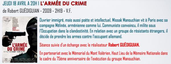 L' Armée du Crime. Projection-débat en présence de Robert Guédiguian
