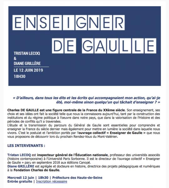 Conférence : «Enseigner De Gaulle»
