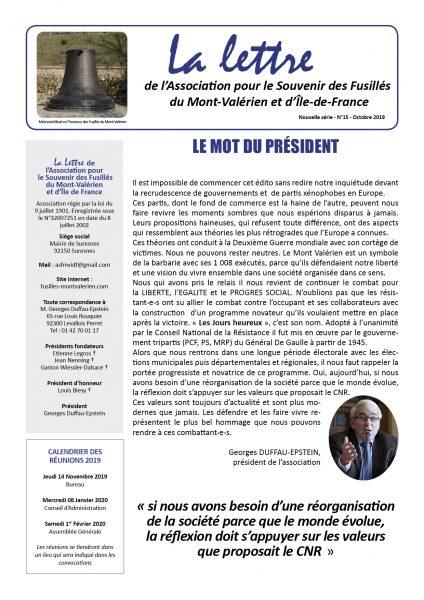 Parution du N°15 de «La Lettre du Mont-Valérien»