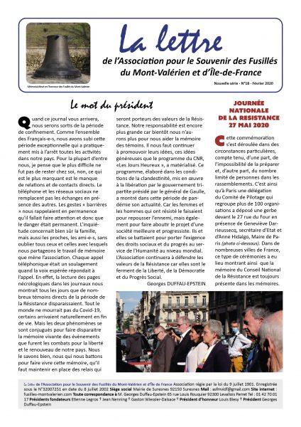 Parution du N°18 de «La Lettre du Mont-Valérien»