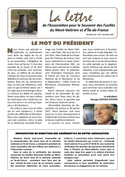 Parution de «La Lettre du Mont-Valérien» N°19